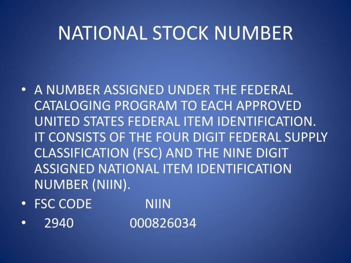 NATIONAL STOCK NUMBER
