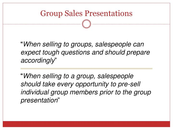 Group Sales Presentations