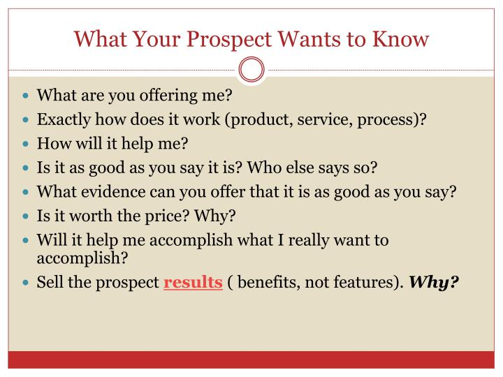 What Your Prospect Wants to Know