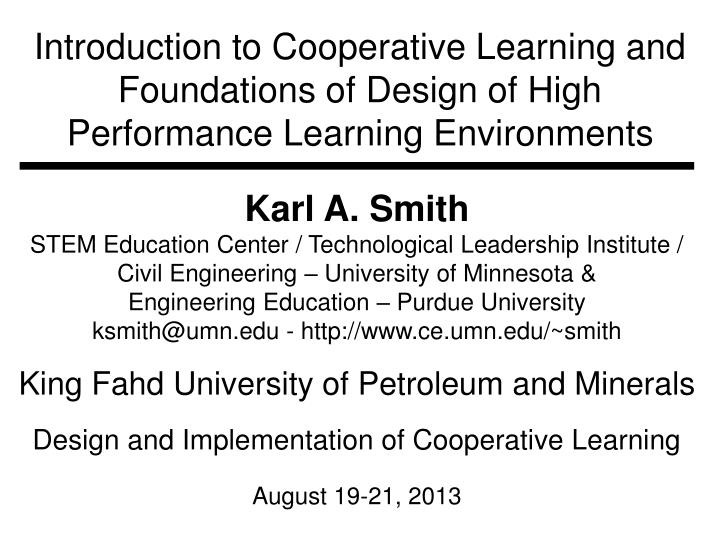 Introduction to Cooperative Learning and Foundations of