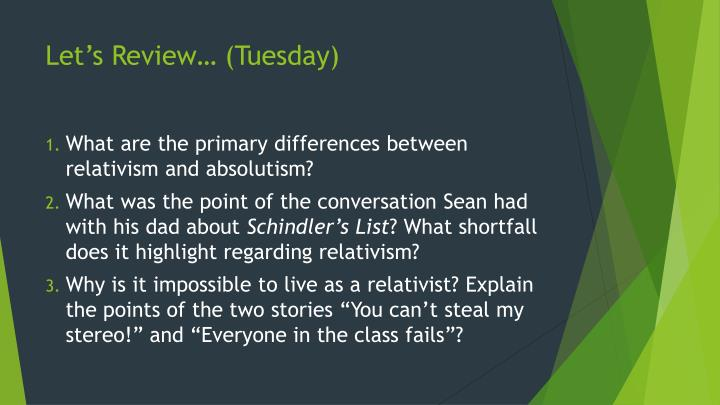 Let's Review… (Tuesday)