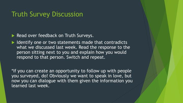 Truth Survey Discussion
