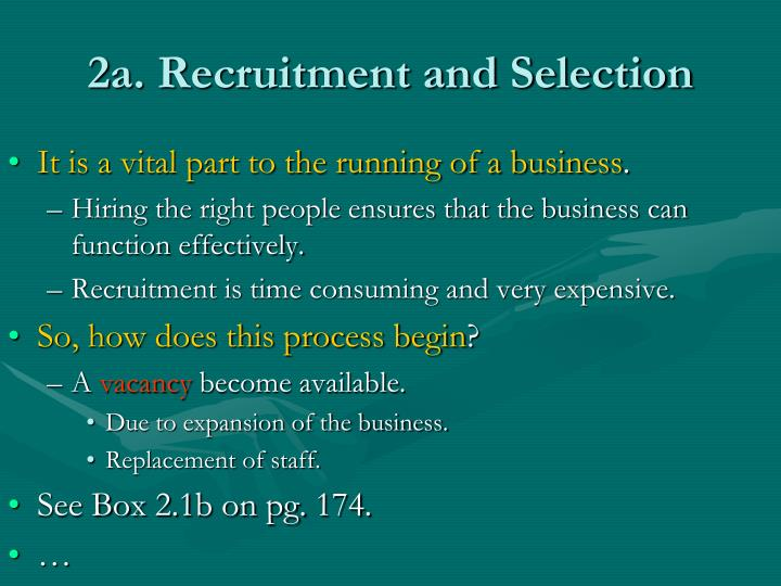 2a. Recruitment and Selection