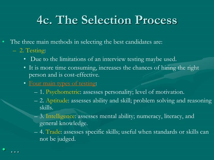 4c. The Selection Process