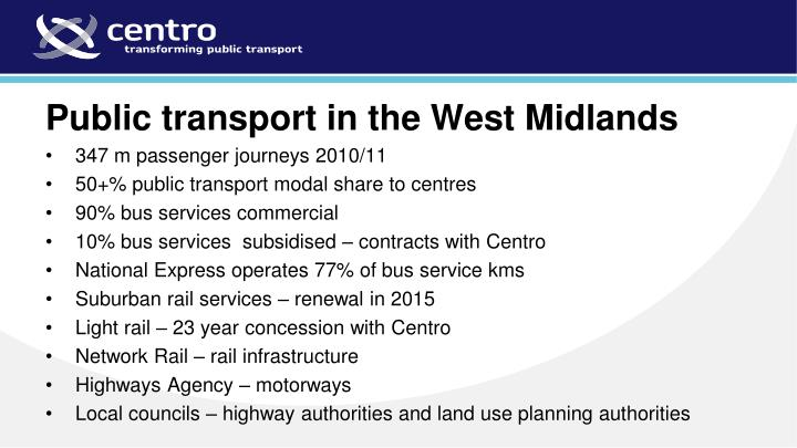 Public transport in the West Midlands