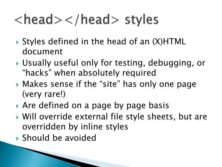 <head></head> styles