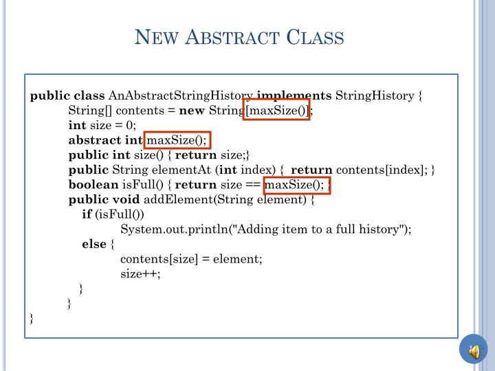 New Abstract Class