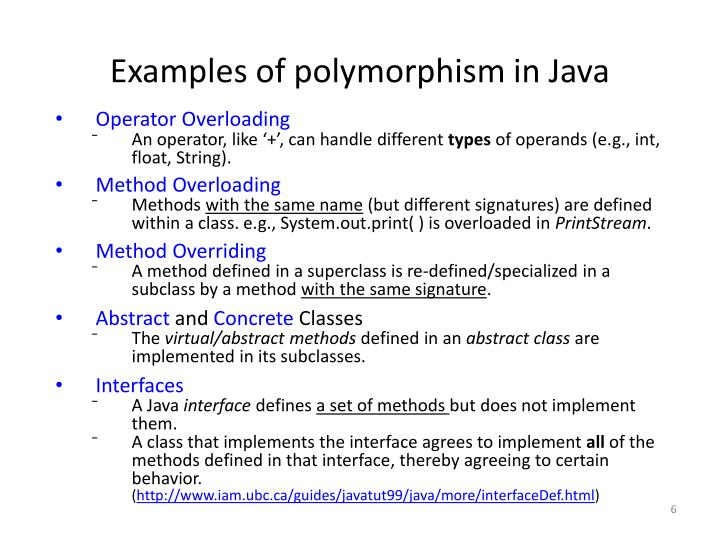Examples of polymorphism in Java