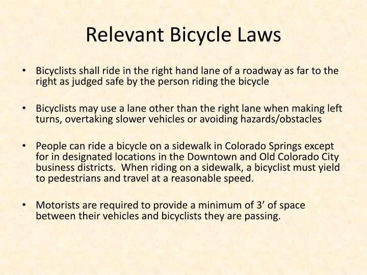 Relevant Bicycle Laws