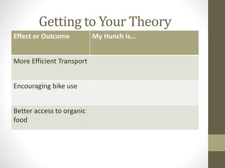 Getting to Your Theory