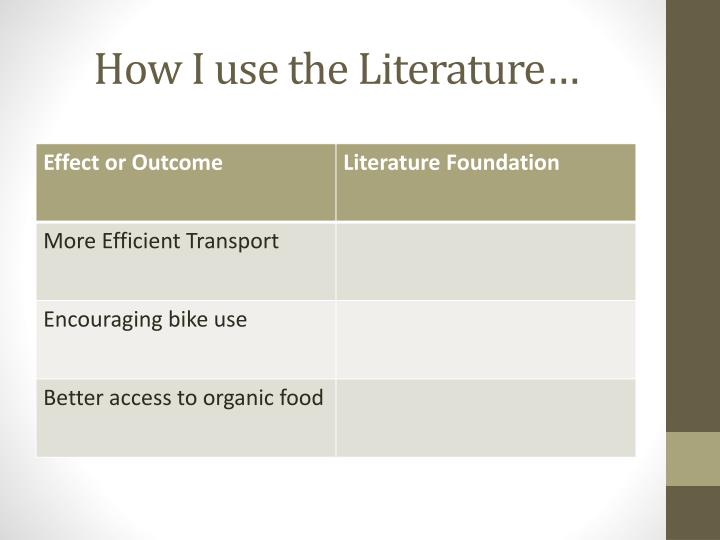 How I use the Literature…