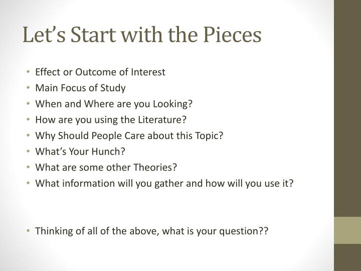 Let's Start with the Pieces