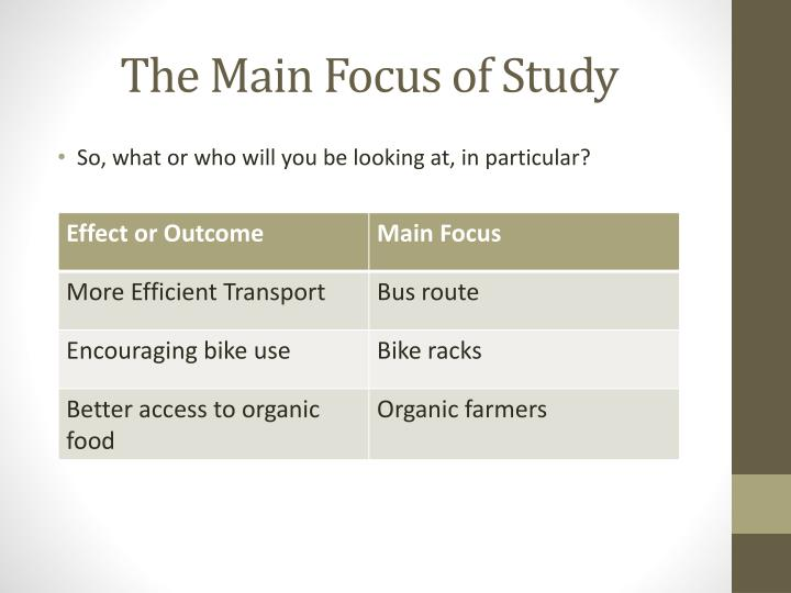 The Main Focus of Study
