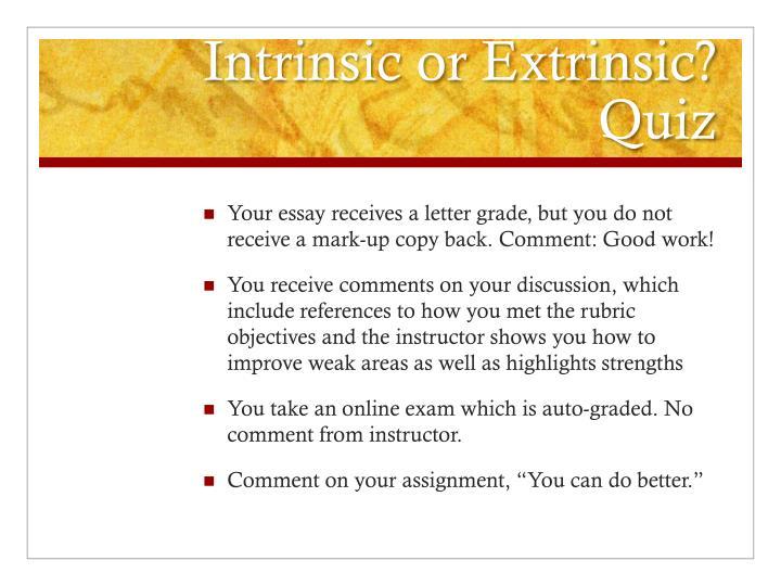 Intrinsic or Extrinsic? Quiz