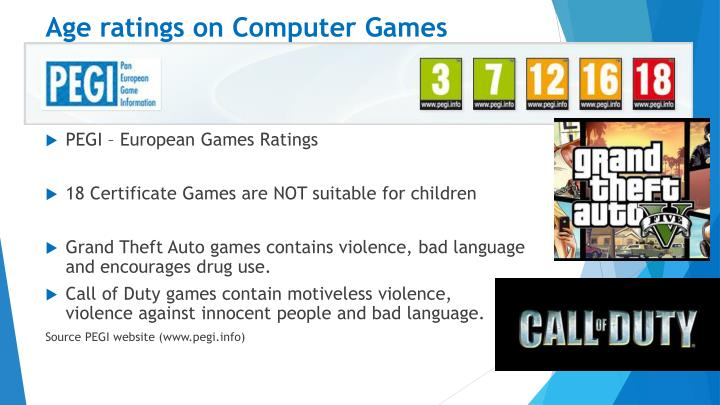 Age ratings on Computer Games