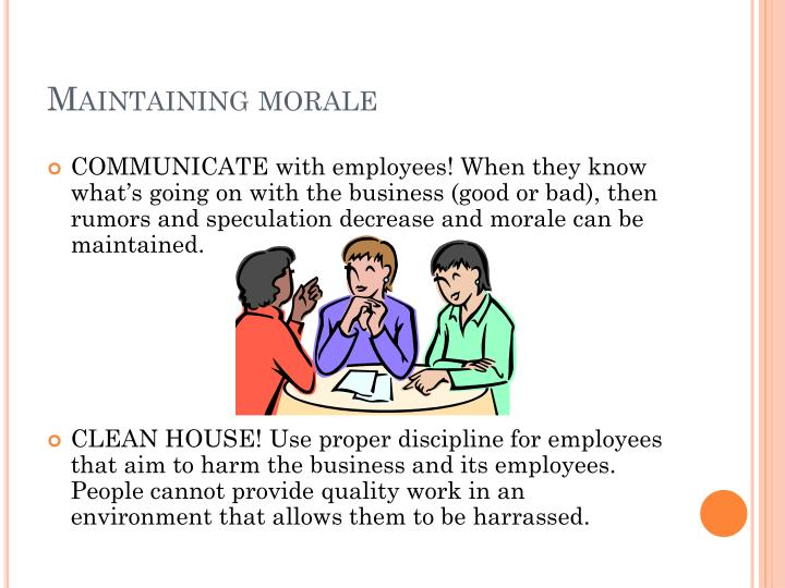 Maintaining morale