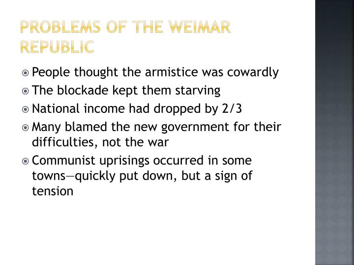 Problems of the Weimar Republic