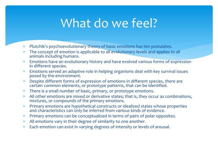 What do we feel?