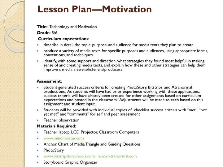 Lesson Plan—Motivation