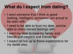 what do i expect from dating1