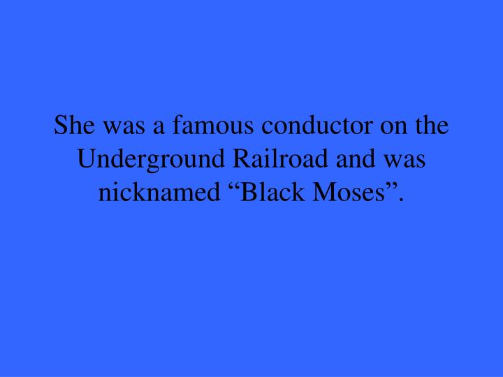 "She was a famous conductor on the Underground Railroad and was nicknamed ""Black Moses""."
