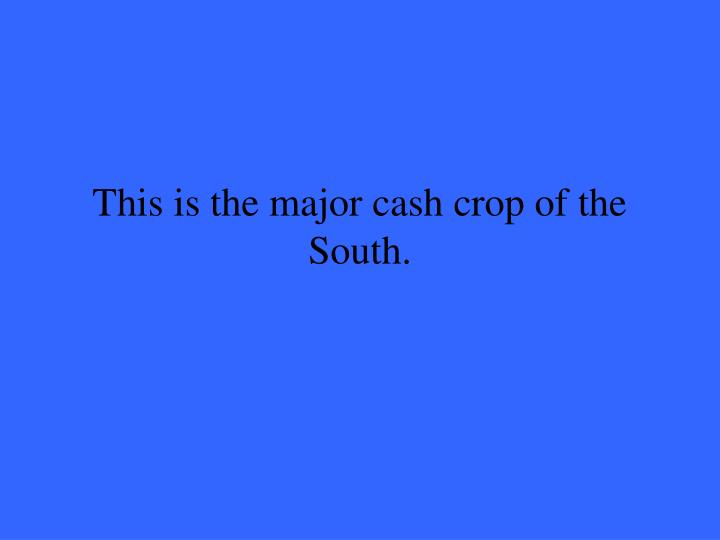 This is the major cash crop of the South.