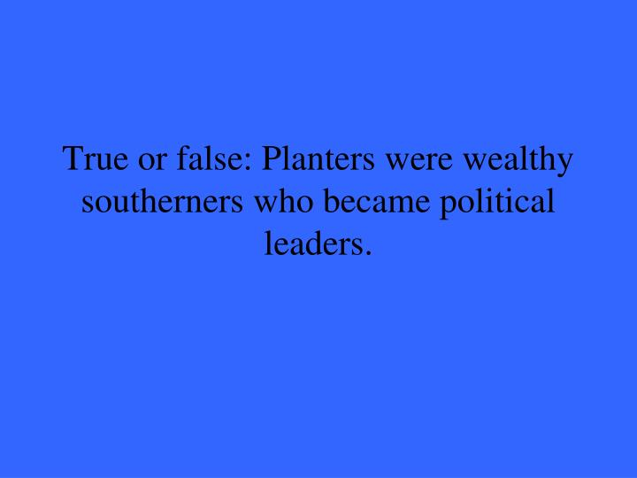 True or false: Planters were wealthy southerners who became political leaders