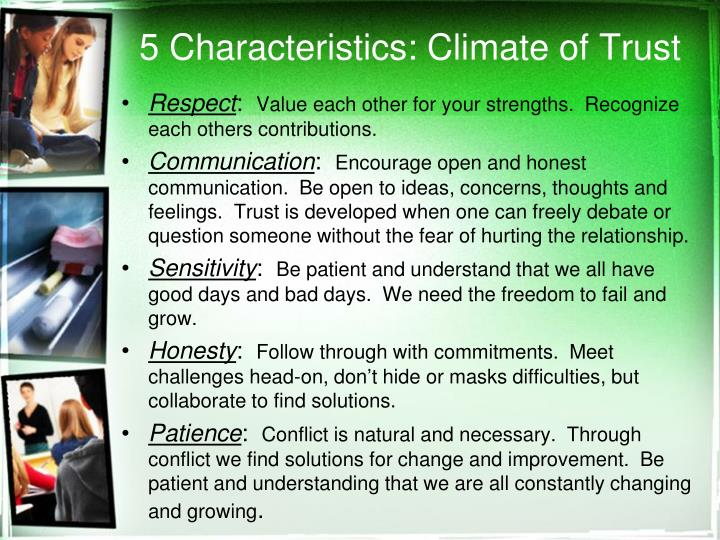 5 Characteristics: Climate of Trust
