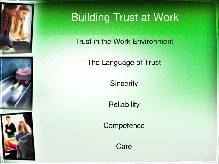 Building Trust at Work