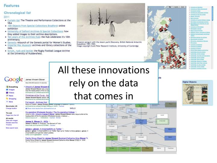 All these innovations rely on the data