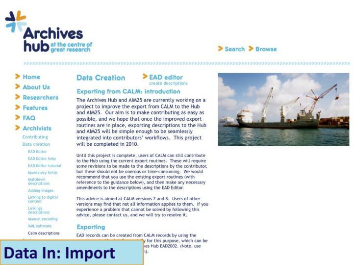 Data In: Import