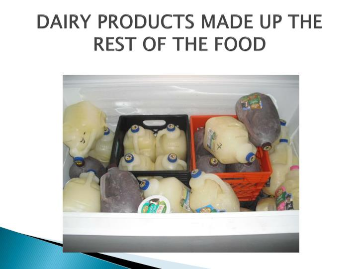 Dairy products made up the rest of the food