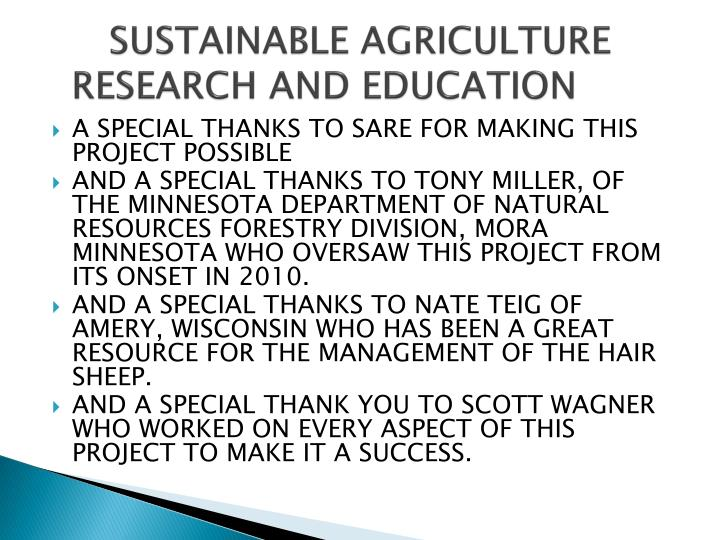 SUSTAINABLE AGRICULTURE   RESEARCH AND EDUCATION