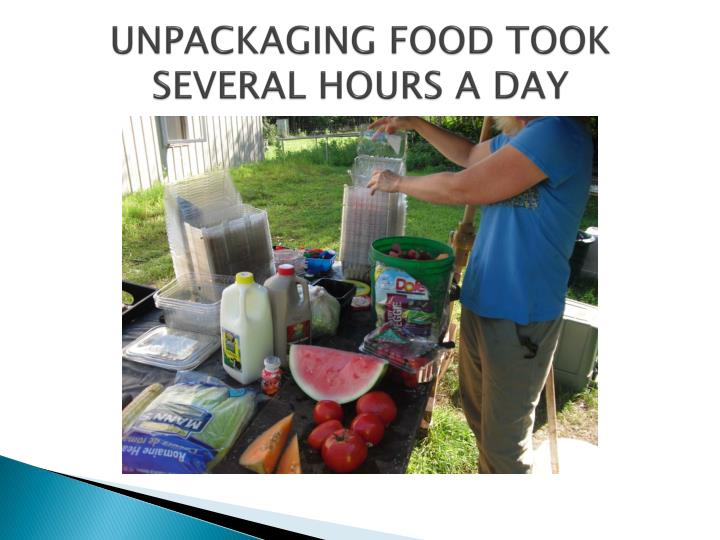 UNPACKAGING FOOD TOOK SEVERAL HOURS A DAY