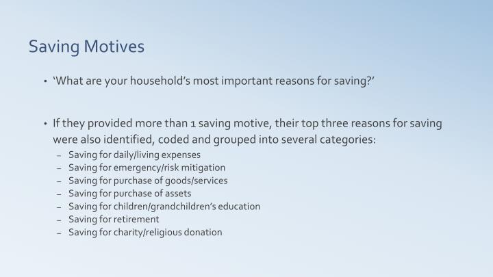 'What are your household's most important reasons for saving?'