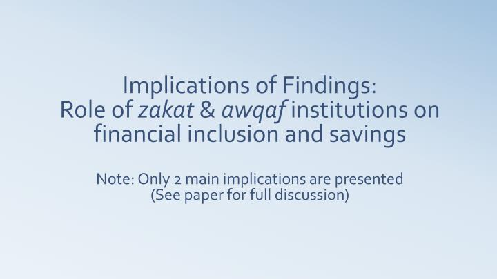 Implications of Findings: