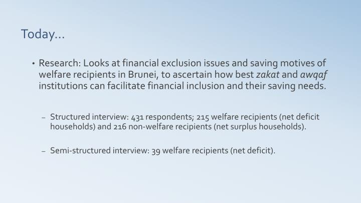 Research: Looks at financial exclusion issues and saving motives of welfare recipients in Brunei, to ascertain how best