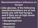 neurotransmitters influence on hunger