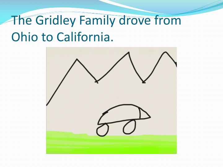 The Gridley Family drove from Ohio to California.