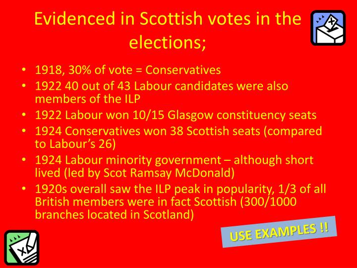Evidenced in Scottish votes in the elections;
