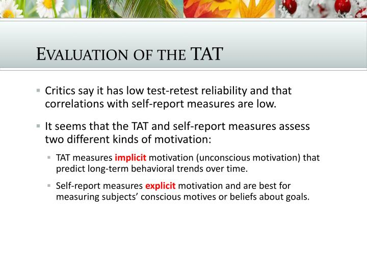 Evaluation of the TAT