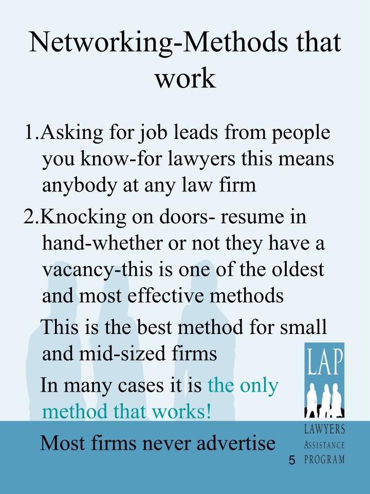 Networking-Methods that work