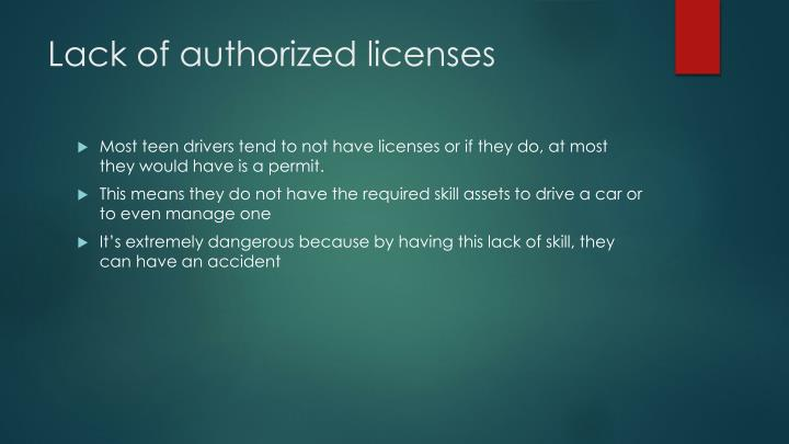 Lack of authorized licenses