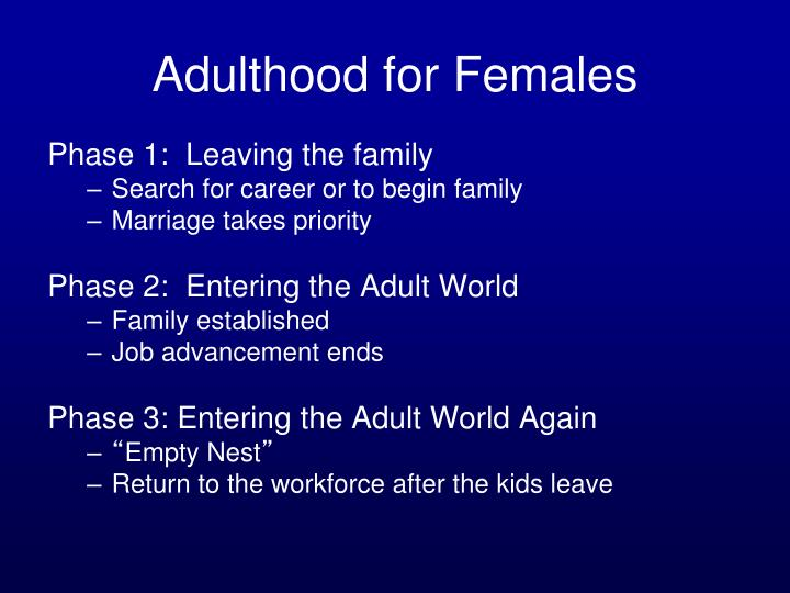 Adulthood for Females