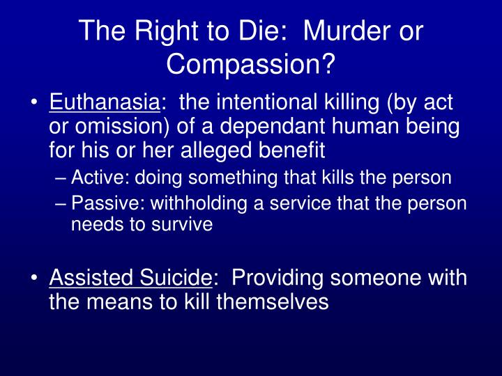 The Right to Die:  Murder or Compassion?