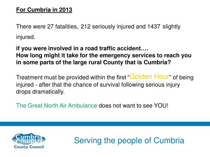 For Cumbria in 2013