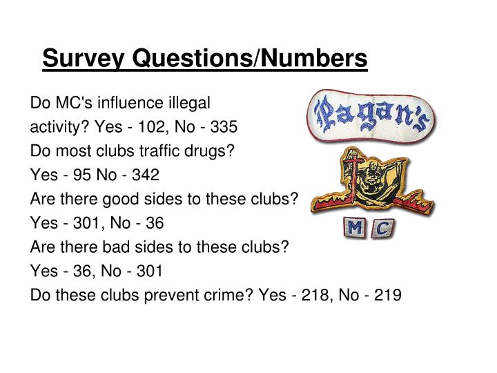 Survey Questions/Numbers