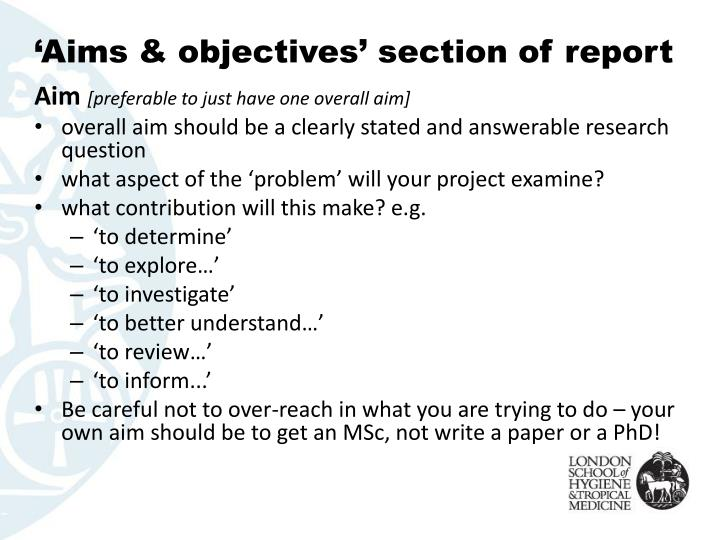 'Aims & objectives' section of report