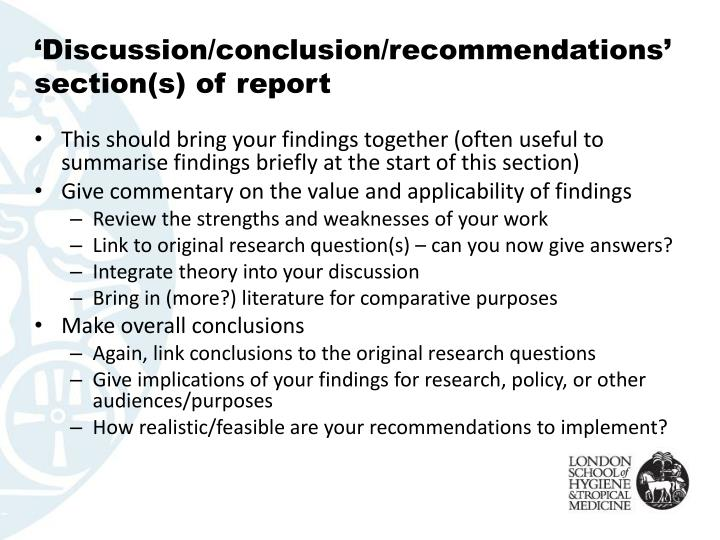 'Discussion/conclusion/recommendations' section(s) of report