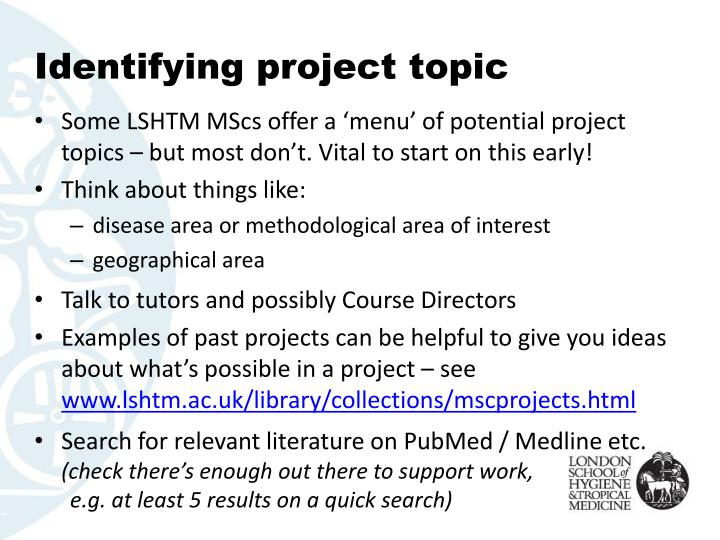 Identifying project topic